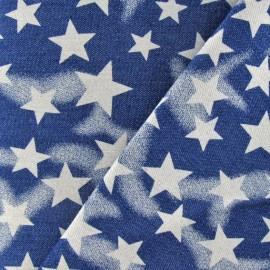 Tissu jeans étoiles bleu x 10cm
