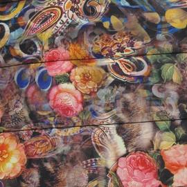 Tissu doublure matelassé Fleuris A fond noir x 10cm