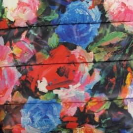 Tissu doublure matelassé Fleuris B fond noir x 10cm