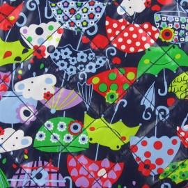 Tissu matelassé Umbrella & Clouds fond marine x 10cm