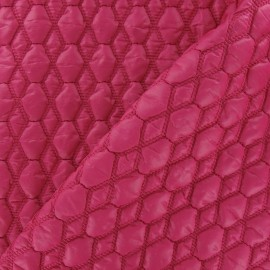 ♥ Coupon 15 cm X 130 cm ♥ Embossed Hexagon Quilted Lining Fabric - Fuchsia