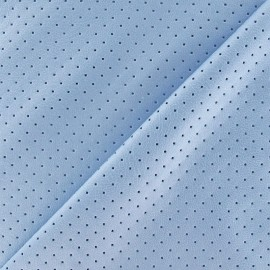 ♥ Coupon 180 cm X 150 cm ♥ Simili cuir souple perforé Clara bleu ciel