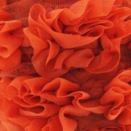 Galon fleur sur tulle orange 50 cm