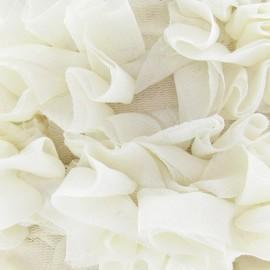 Galon fleur sur tulle écru 50 cm