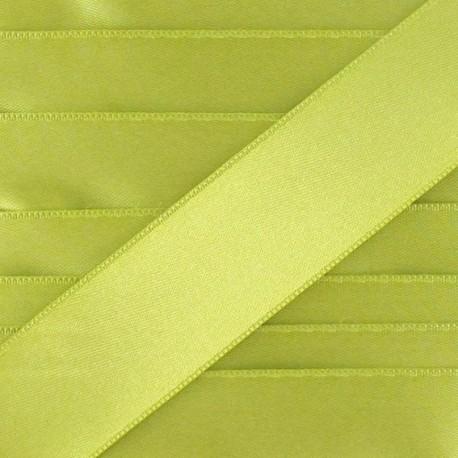 Ruban satin double face vert moutarde