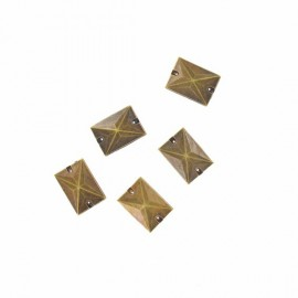 Sew-on rectangular-shaped rhinestones x 5 - antique bronze
