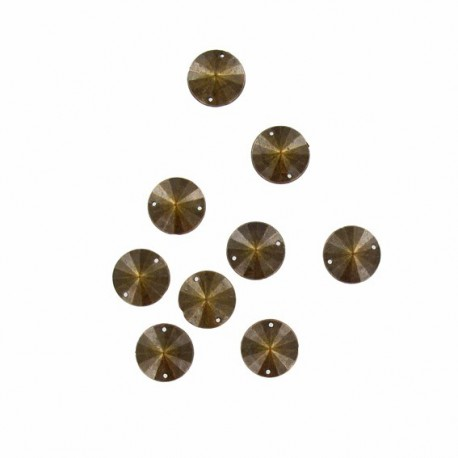Sew-on round-shaped rhinestones x 10 - antique bronze