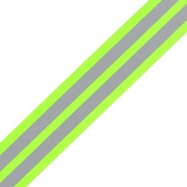 Grosgrain aspect braid trimming ribbon, Reflective Stripes - Fluorescent yellow