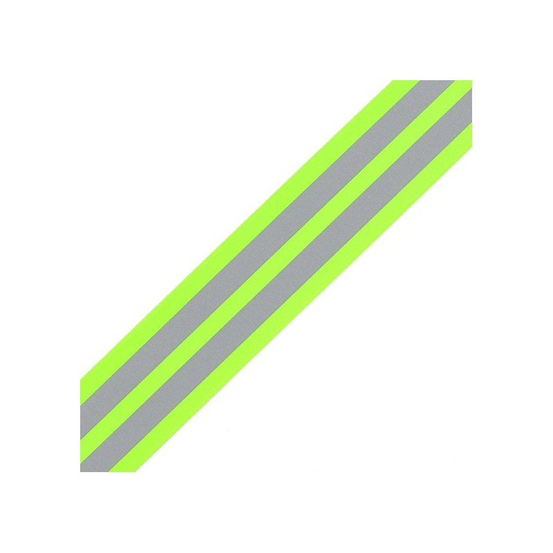 grosgrain aspect braid trimming ribbon reflective stripes fluorescent yellow ma petite mercerie. Black Bedroom Furniture Sets. Home Design Ideas