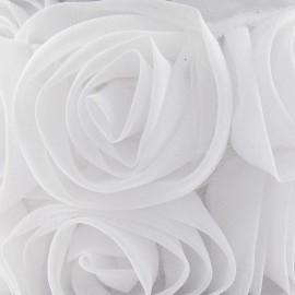 Galon rose sur tulle blanc x 50 cm