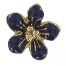 Metal button, small flower Laurette - navy