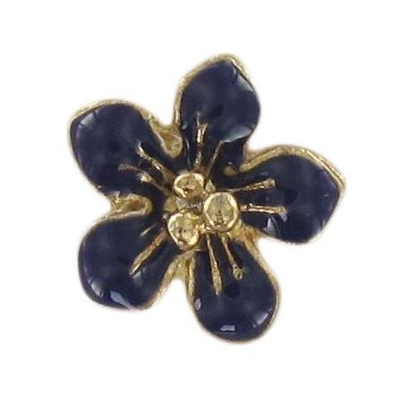 Metal button, small flower Laurette - navy