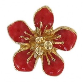 Metal button, small flower Laurette - red