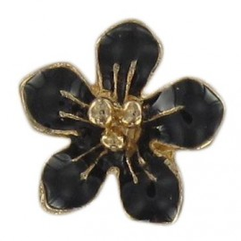Metal button, small flower Laurette - black