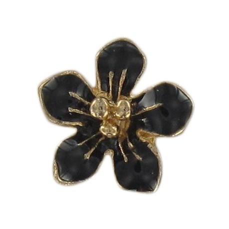 Metal button, small flower Laurette - black