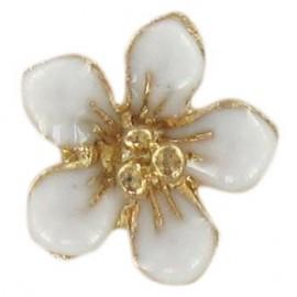 Metal button, small flower Laurette - white