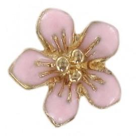 Bouton Fleur Métal Laurette Rose