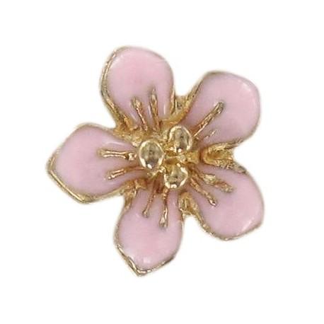 Metal button, small flower Laurette - pink