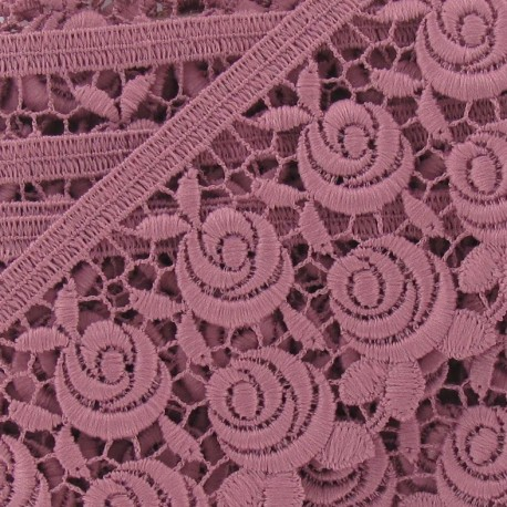 Guipure lace, Flowers Rosa x 60mm x 50cm - pink