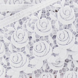 Guipure lace, Flowers Rosa 60mm x 50cm - white