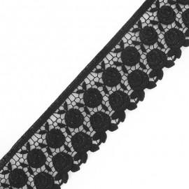 Guipure lace, Flowers Rosa 60mm x 50cm - black