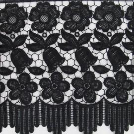 Guipure lace ribbon, Flowers Adèle, 23 cm x 50cm - black