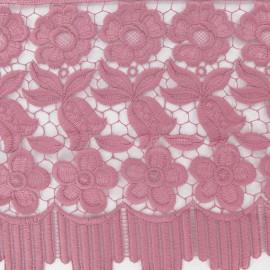 ♥ Coupon 125 cm ♥  Guipure lace ribbon, Flowers Adèle, 23 cm  - old rose