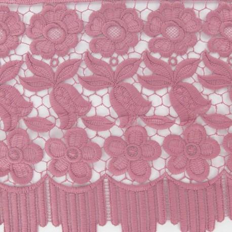 Guipure lace ribbon, Flowers Adèle, 23 cm x 50cm - old rose