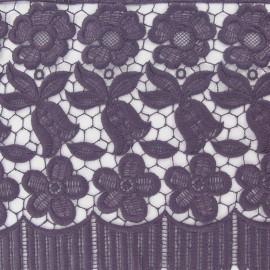 Guipure lace ribbon, Flowers Adèle, 23 cm x 50cm - mauve