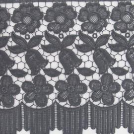 Guipure lace ribbon, Flowers Adèle, 23 cm x 50cm - grey