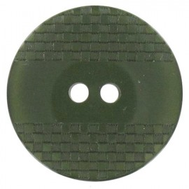 Polyester button, square-patterned with reflection - moss
