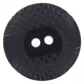 Polyester button, square-patterned with reflection - black