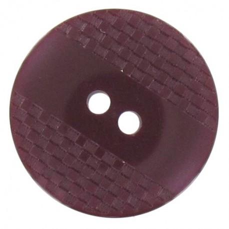 Bouton polyester quadrillé à reflets grenat