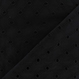 Lattice eyelet Fabric - black x 10cm