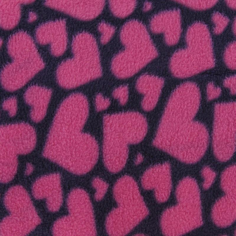 Tissu Polaire Coeur Rose Fond Bleu Marine X 10cm Ma Petite Mercerie