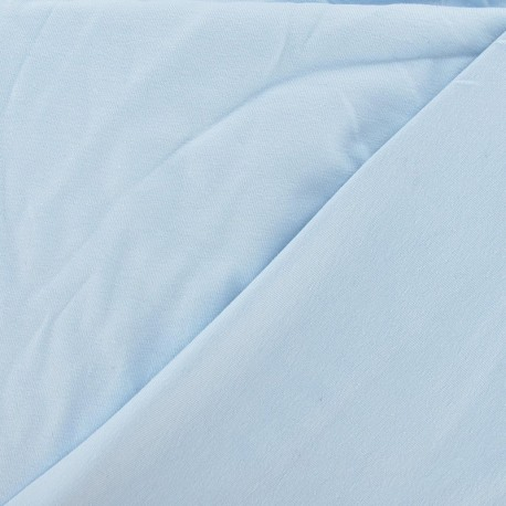 Tissu jersey uni Bleu dragée 10cm