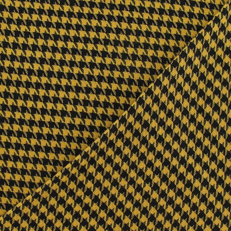 Houdstooth small wool fabric - yellow and black x 10cm