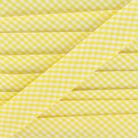 Bias binding, little gingham 20 mm - yellow