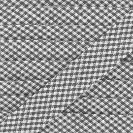 Biais Petit Vichy noir 20 mm