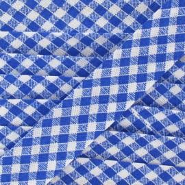 Biais Vichy bleu 18 mm