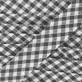 Bias binding, gingham 18 mm - black