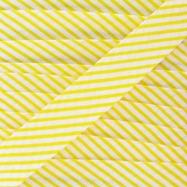 Biais coton rayé jaune