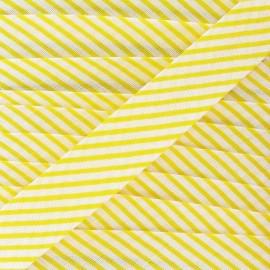 Cotton bias binding, stripes - yellow