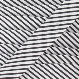 Cotton bias binding, stripes - black