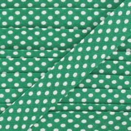 Cotton bias binding, with white polka dots - green