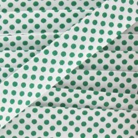 Biais coton à pois vert/blanc