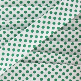 Cotton bias binding, with green polka dots - white