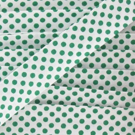 Cotton bias binding, with green polka dots - white