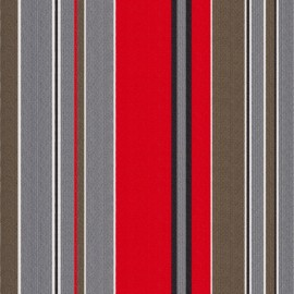 Deckchair Canvas Fabric - Petitus Red/Grey (43cm) x 10cm