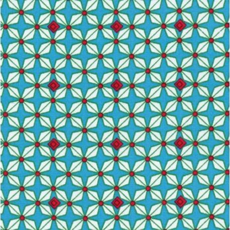 Tissu coton Hélium bleu x 10cm